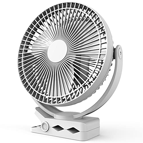 10000mAh 8-Inch Rechargeable Battery Operated Clip on Fan, 4 Speeds Fast Aiflow USB Fan, Sturdy Clamp Portable for Outdoor Camper Golf Cart or Indoor Gym Treadmill Personal Office Desk - White