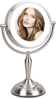 Lighted Makeup Mirror - 1x/10x Magnifying Mirror with Light, 7.5 Inch Lighted Vanity Mirror, LED Natural White Light, Double Sided With Stand, AC Adapter Or Battery Powered
