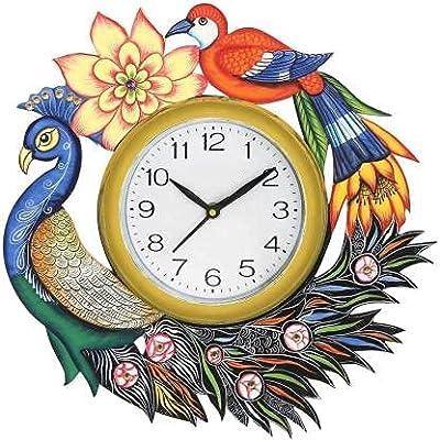 SK multi store world Analog 33 cm X 33 cm Wall Clock Peacock Design bestfor Home Decor Office Bedroom Kitchen Gifts