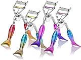 4 Pieces Mermaid Eyelash Curler Eye Lash Curling Clip Gradient Color False Eyelash Curling Curler Cosmetics Beauty Makeup Tools