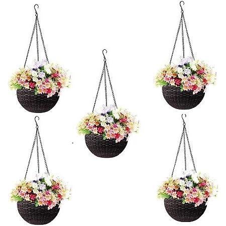 Round Gamla Pot Flower Hanging Round Rattan Woven Plastic Flower Hanging Basket Beautiful Pot for Garden Balcony (5 Pcs, Dark Brown)