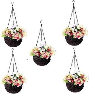 Round Gamla Pot Flower Hanging Round Rattan Woven Plastic Flower Hanging Basket Beautiful Pot for Garden Balcony (5 Pcs, D...