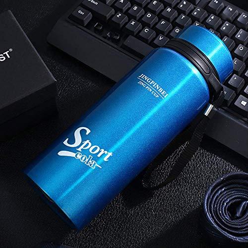 Edelstahl-Isolierflasche Sportbecher tragbar 600MI blau,Legendary Classic Vakuum-Thermoskanne, Stainless Edelstahl, Integrierter Thermobecher, Doppelwandige Isolierung Isolierflasche