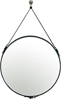 PU Leather Round Decorative Wall Mirror with Hanging Strap Silver Hardware Hanger/Hook (Black, 23.6inchs)
