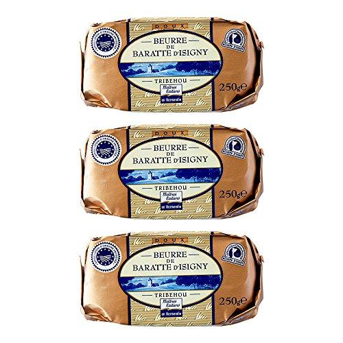 イズニーA.O.P. 無塩発酵バター【250g】 Tribehou BEURRE d'ISIGNY DOUX / バターコーヒーにオススメ! (3個)