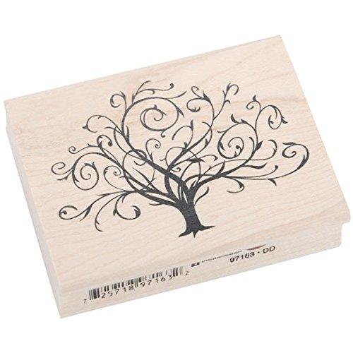 Inkadinkado gemonteerd rubberen stempel 5,7 cm x 7,6 cm, floreerde val boom