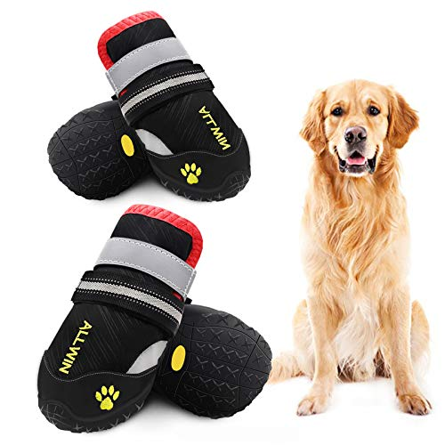 ALLWIN Dog Waterproof Boots - Big Dog Shoes with Reflective Straps Non Skid Rubber Bottom Outdoor Winter Dog Booties for Medium Size and Large Dogs 4PCS (Size 5: 2.4'x2.2'(LW), Black)