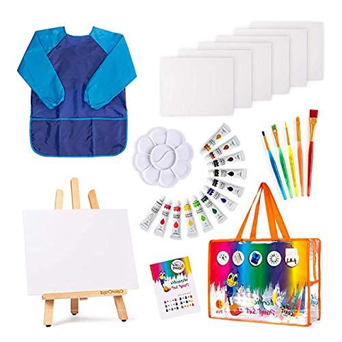 UND 27PCS Acrylfarben-Set mit 5 Pinsel 8x10 Malleinwand Tischplatte Staffelei & Bonus Art Smock Paint Palette Farbmischtabelle