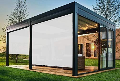 EB ESTORES BARATOS Persiana Enrollable Exterior Tecnoscreen/Bloqueo UV 70% / Microperforado (no Hace Efecto Vela). Medidas Ancho x Alto. Color: Blanco. Medidas: 80cm x 120cm