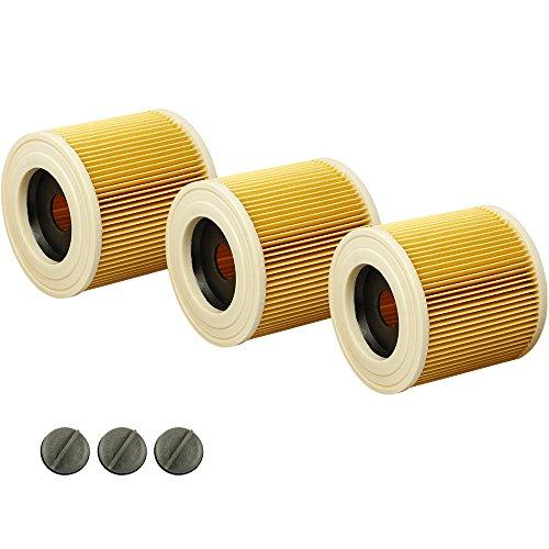Kenekos 3x Patronenfilter für Kärcher WD2, WD3, WD3 Premium, MV3, A-Serie, K-Serie, SE 4001, SE 4002, ersetzt 6.414-552.0, 6.414-772.0, 6.414-547.0
