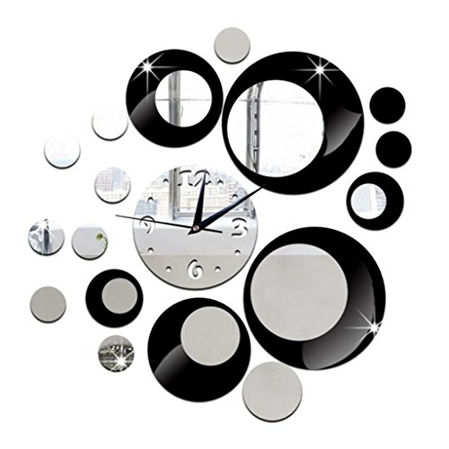 LQ-wall clock Relojes de Pared 3D DIY Reloj de Pared Digital Gran Silencioso Espejo de Acrílico Pegatinas Decoración del Hogar Sala de Estar Relojes de Cuarzo, A