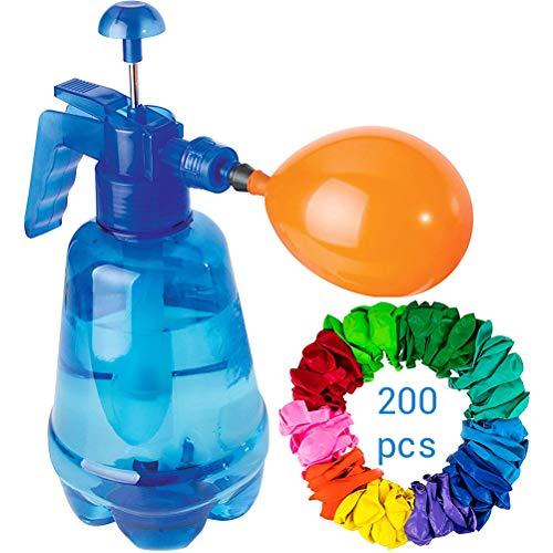 Wasserballon Pumpe,Wasserballon Füller mit 200 Wasserballons für Jungen und Mädchen zur Wasserschlacht Kindergeburtstag Wasser-Ballons Luftballons
