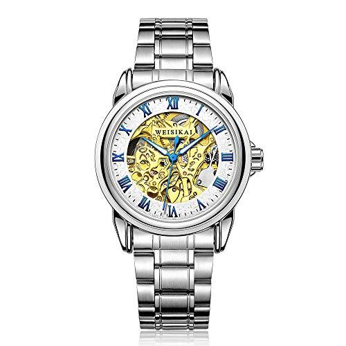 Reloj de Moda Esqueleto mecánico de Acero Inoxidable para Hombre Impermeable automático -A