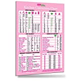 Comprehensive Pink Kitchen Conversion Chart Magnet 8.5'x11' 50% More Data Cooking Baking Recipes Cookbook Accessories Measurement Conversions Gift for Wife Girl Friend