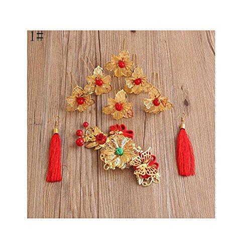 Exquisite nuptiale mariage Hair Style Accessoires Boucles d'oreilles Sets Hair Clips Hair Pins, 01