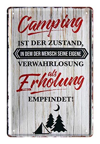 Blechschild witziger Spruch für Camping Enthusiasten - Retro Deko Schild - Dekoration Caravan Wohnmobil Wohnwagen Reisemobil Outdoor Zelten Camping Begeisterte - Metallschild Campingplatz - 20x30cm