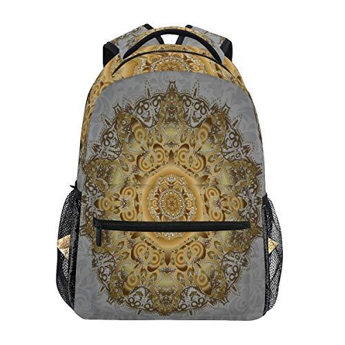 BIGJOKE Rucksack, indischer Ottomanen-Motive, Ethnischer Druck, große Kapazität, leger, Bedruckt, Schulranzen, Tagesrucksack, Reisen, Laptop, Damen, Erwachsene, Jungen und Mädchen