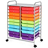 Giantex 20 Drawers Storage Drawer Cart, Rolling Organizer Cart for Office School Tools Scrapbook Paper, Utility Cart on Wheels (Multicolor)