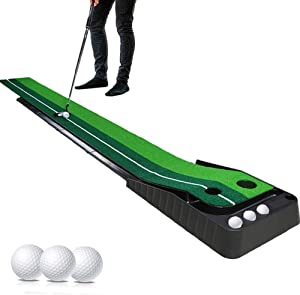 KOMEI Indoor Golf Putting Green - Portable Mat with Auto Ball Return Function - Mini Golf Practice Training Aid, Game and Gift for Home, Office, Outdoor Use