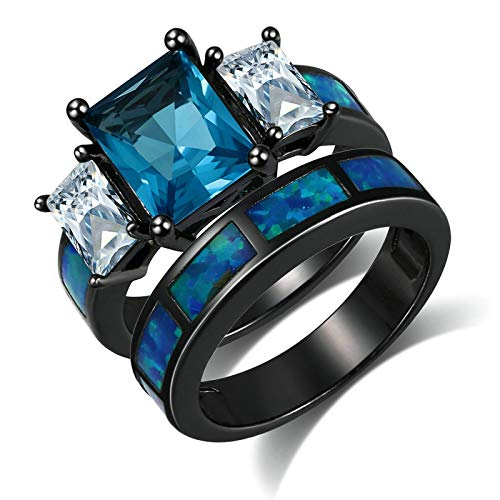 KnSam Ring for Womens, Copper Comfort Fit Rectangle Cubic Zirconia Blue Ring Size R 1/2