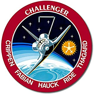 American Vinyl Round Space Shuttle Mission STS 7 Sticker (Challenger NASA Logo Insignia Patch Design)