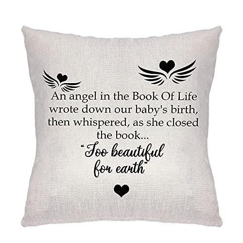 ZCHXD Regalos de hija - Funda de cojín para sofá Familia salón dormitorio decoración An Angle in The Book of Life Wrote Down Our Baby's