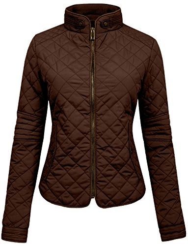 NE PEOPLE Womens Lightweight Quilted Zip Jacket, Large, NEWJ22BROWN
