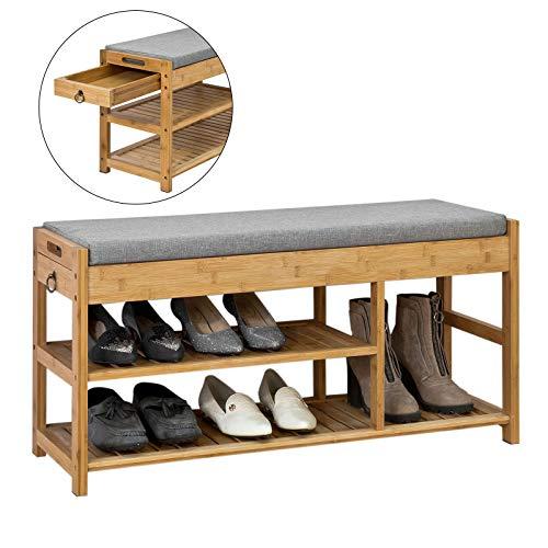*SoBuy® FSR47-N Schuhbank mit Sitzfläche und Schubladen, Garderobenbank Schuhregal Sitzbank Bambus, BHT ca: 90x45x30cm*