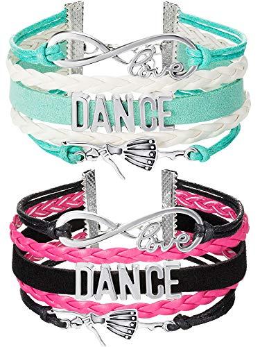 Chuangdi 2 Pieces Dance Bracelet Girls Charm Bracelet Dance Recital Gift Adjustable Bracelet for Dancers (Blue and Rose Red)