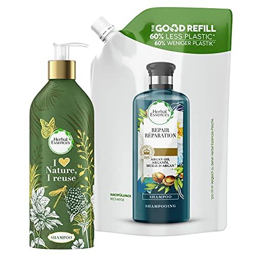 Herbal Essences Repair Shampoo Starter-Set, Nachfüllbare Aluminiumflasche Und Recycelbarer Nachfüllpack, Pumpspender, Shampoo Damen, Arganöl, Haarpflege Glanz, Haarpflege Trockenes Haar 910ml