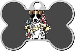 Customized Pet ID Tag Bad Dog Jack Russell Tattoo Personalized Front and Back Bone Shape Dog Tags