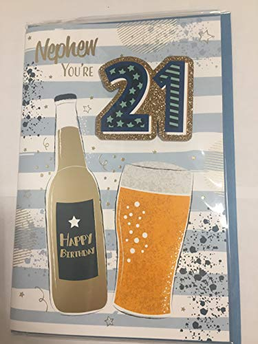 Nephew You're 21 Happy Birthday Card Age 21 21st Twenty-One White/Blue/Gold Beers/Stripes 3D/Glitter/Foil Detail