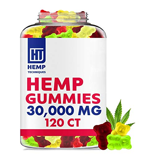 Hemp Gummies for Pain and Anxiety - 30000 MG - Premium Fruity Gummy Bears with Hemp Oil 120 Count for Headache, Better Sleep, Calm, Stress and Inflammation Relief Packaging May Vary