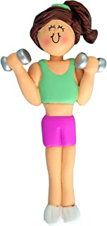 Personalized Weight Lifter Christmas Tree Ornament 2019 - Brunette Girl in Pink Workout Dumbbell Addict Body Building Hobby Crossfit Trainer - Free Customization (Brown Hair Female)