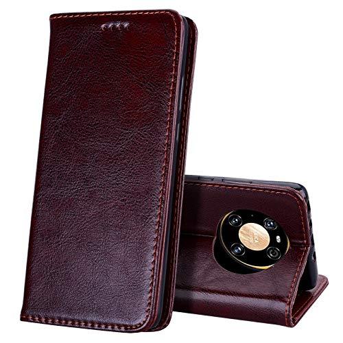 EATCYE Kompatibel mit Huawei Mate 40 Pro Hülle, [Echtleder] Handyhülle [Extra Dünn] Brieftasche flip Lederhülle Schutzhülle [Versteckt Magnet] Premium Design Echt Leder Brieftasche (Dunkelbraun)