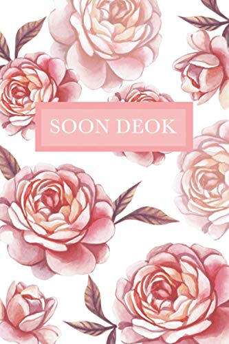 Soon Deok: Personalized Notebook with Flowers and Custom Name – Floral Cover with Pink Peonies. College Ruled (Narrow Lined) Journal for Women and Girls
