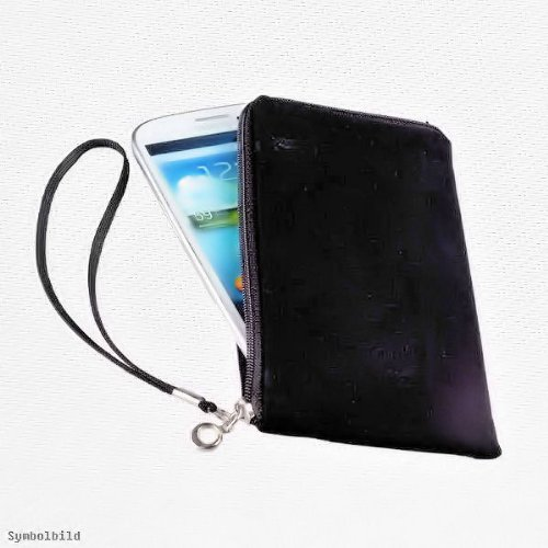Universal Handy Tasche – Soft Touch Neopren in Schwarz mit Reißverschluss – kompatibel mit Motorola Razr Maxx - Razr XT910 – Cover Case Hülle
