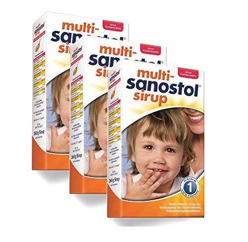 Multi-Sanostol ohne Zuckerzusatz: Multivitaminpräparat für Kinder ab 1 Jahr zur Vorbeugung von kombinierten Vitaminmangelzuständen, 3x260g