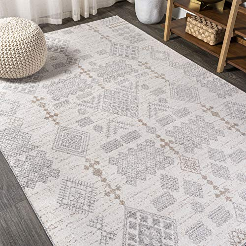 JONATHAN Y MOH302A-8 Bhalil Berber Diamond Geometric Beige/Gray 8 ft. x 10 ft. Area Rug, Bohemian, Easy Cleaning, For Bedroom, Kitchen, Living Room, Non Shedding