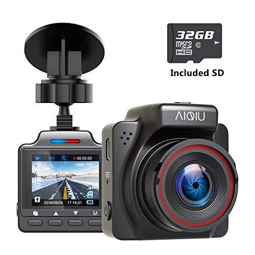 AIQiu Dash Cam with 32GB SD Card, 1296P FHD Mini Car Driving Recorder, Vehicle Dashboard Camera, G-Sensor, Loop Record, WDR, Parking Monitor, Night Vision