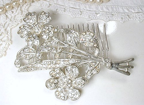 Antique Art Deco Bridal Hair Comb, Floral Rhinestone Hairpiece Accessory, 1930s 1940s Vintage Great Gatsby Wedding