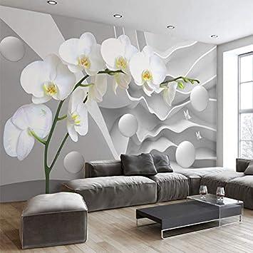 WH-PORP Räumliche Erweiterung Persönlichkeit 8D Tapete Stereo Relief  Schmetterling Orchidee Ball Wandbild Wohnzimmer Restaurant Modernen  Einfachen