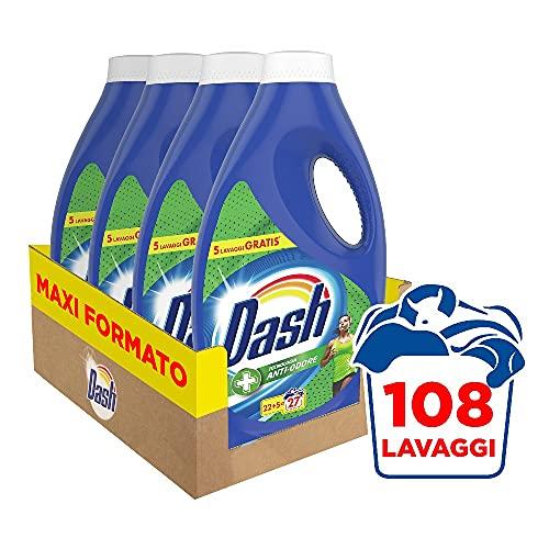 Dash Detersivo Liquido Lavatrice, 108 Lavaggi, (4 x 27), Tecnologia Anti-Odore,, Maxi Formato, per Tutti i Capi
