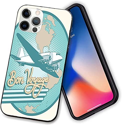Custodia compatibile con iPhone 12 serie, astratta Vintagesy of Bon Voyage Text e Retro Plane on Globe, morbida custodia in TPU per iPhone 12 mini 5,4 pollici