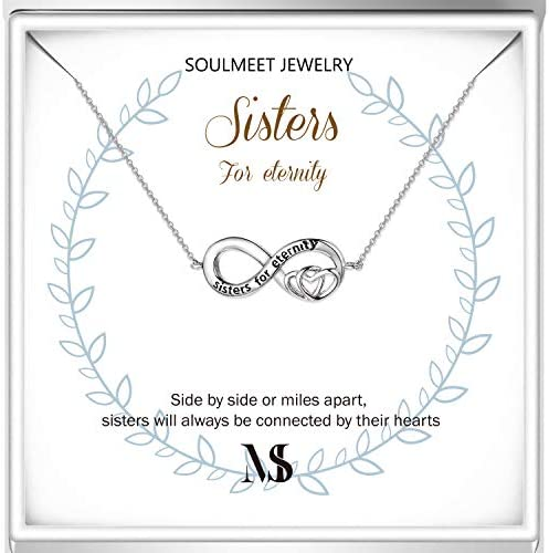 SOULMEET Sisters For Eternity Necklace Gifts From Sister Sterling Silver Infinity Hearts Necklace product image