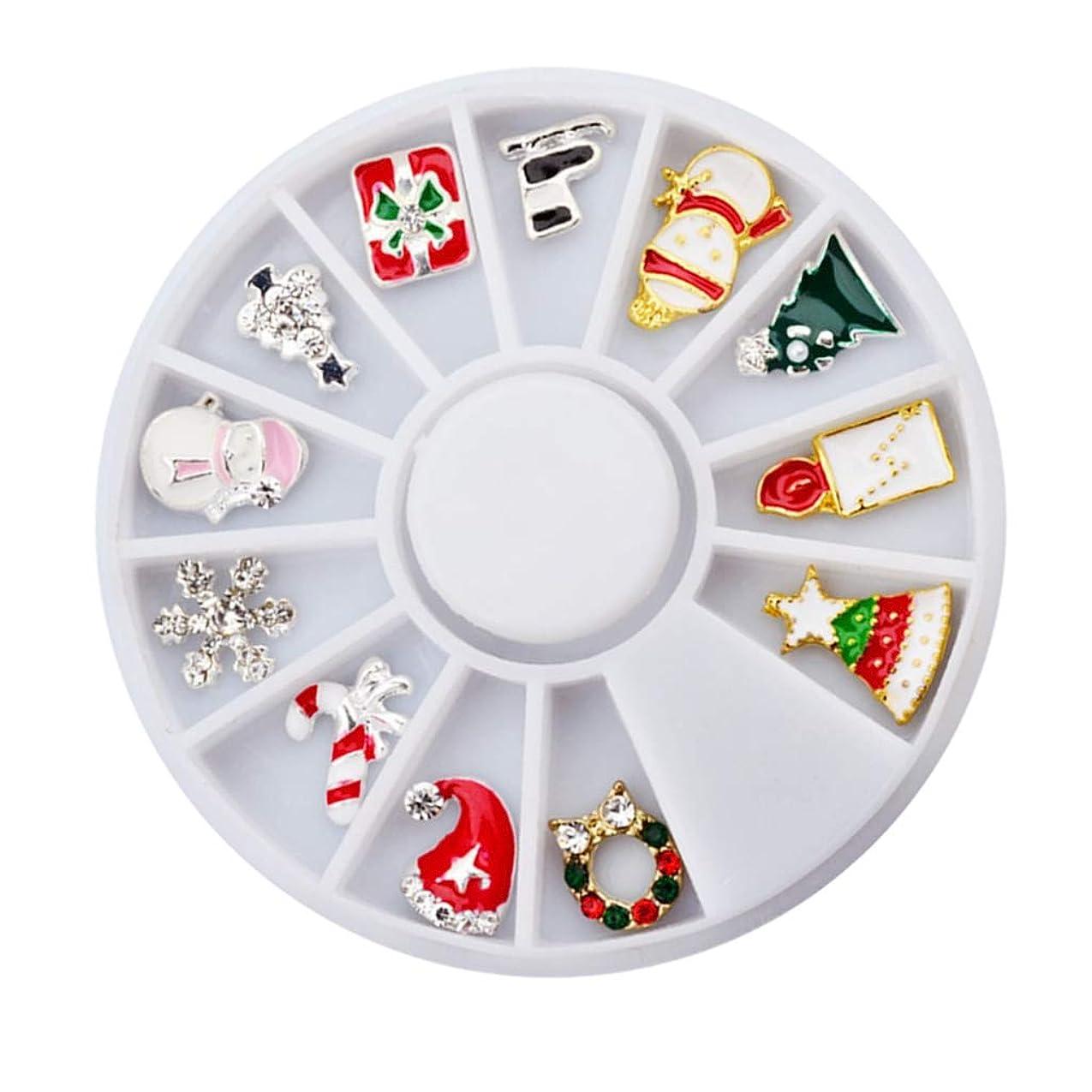 パーツキャッチ服を着るF Fityle 12個 ネイルアートステッカー 合金 3D クリスマス ネイルアート DIY 装飾 ステッカー