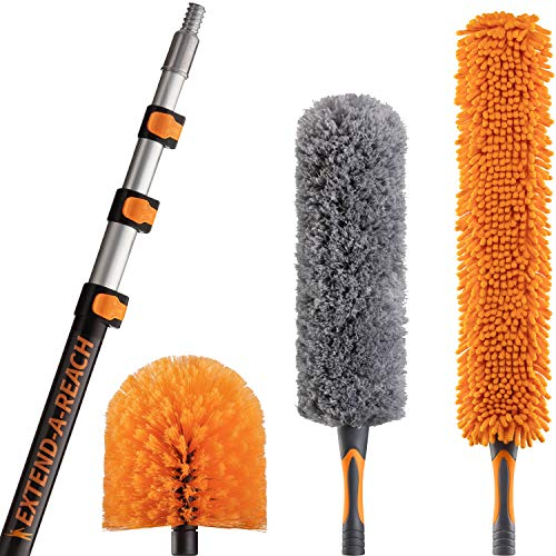 30 Foot High Reach Duster Kit with 7-24 ft Extension Pole // High Ceiling Duster Cleaning Kit with Telescopic Pole // Cobweb Duster // Feather Duster and Ceiling Fan Duster // The Ultimate Dusting Kit