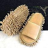 Phoetya Lazy Mop Pantuflas de microfibra duradera limpiadora de pies zapatilla de limpieza para el suelo, polvo multifunción, zapatos abiertos (M Beige)
