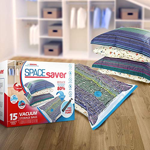 Spacesaver Premium Vacuum Storage Bags (3 x Small, 4 x Medium, 4 x Large, 4 x Jumbo), 80% More Storage Than Leading Brands, Free Hand Pump for Travel! (Variety 15 Pa   ck)