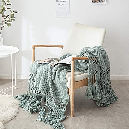 Gestrickte Decke mit Quaste Grün für Nap auf dem Stuhl Sofa und Bet, Weich und Warm Kuscheldecke, Handgemachte Strickdecke, Wohndecke für Wohnzimmer/ Büro, 120 x180cm